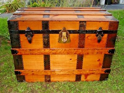 REFINISHED ANTIQUE STEAMER Rustic Trunk CHEST Lock & Key Hamilton NY