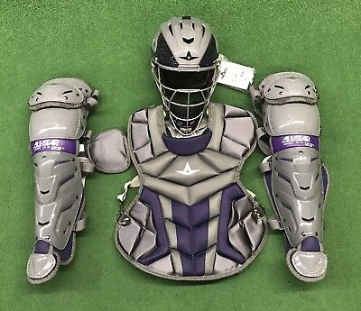 All Star System 7 Axis 10-12 Youth Catcher's Gear Set - Graphite Purple