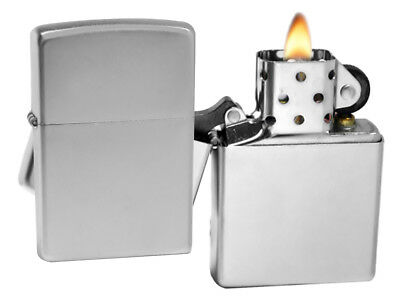 Zippo 205 Satin Chrome Lighter + LPCB Brown Leather Pouch Clip