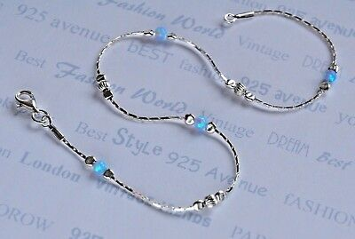 ANKLET OPAL Solid 925 Sterling Silver Chain 9.5''  Ankle Bracelet Made in UK