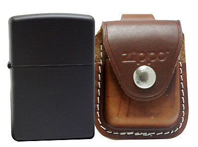Zippo 218 Black Matte Lighter + LPLB Brown Leather Pouch Clip