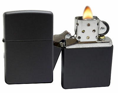 Zippo 218 Black Matte Lighter + LPCB Brown Leather Pouch Clip