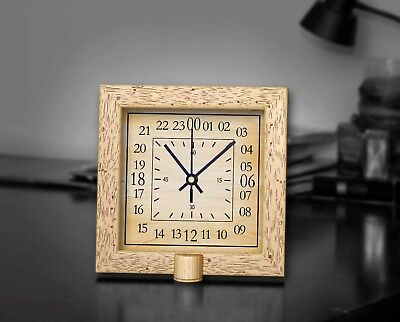 """24 Hours Sepia Classic Wooden Square Clock 8"""" Non-Ticking Silent Wall/Desk Clock"""