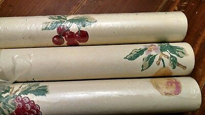NOS Thibaut Wallpaper LOT 3 Double Roll Ivory With Fruit VINTAGE MCM Retro Decor