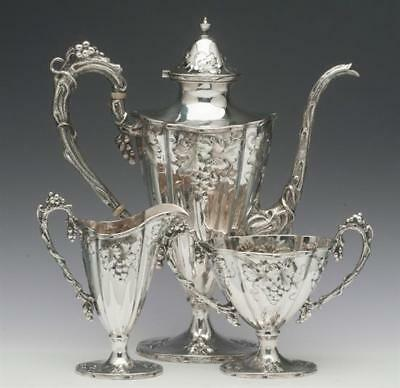 Theodore B. Starr 3 piece Small Coffee Set with Grape Motif Sterling Silver