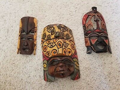 Lot Of Three Wooden Face Mask Wall Hangings, African And Mayan Cultures