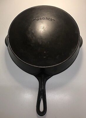 "Vintage "" WAGNER "" Arch One Line Logo # 10 Cast Iron Skillet w/Heat Ring Nice"