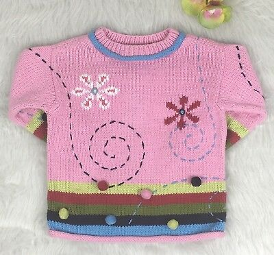 Hanna Andersson Girls Pink Pullover Pom Pom Cotton Knit Sweater Size 90 (2-3T)