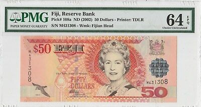 PMG 64 EPQ 2002 FIJI RESERVE BANK P108a  combined shipping **
