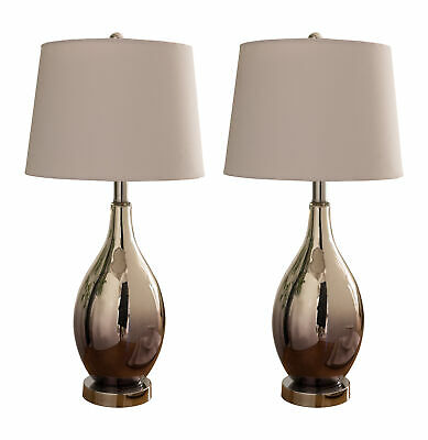 Kings Brand Silver Chrome Finish Glass With Fabric Shade Table Lamps, Set of 2