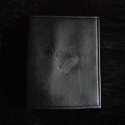 Large black leatherette rpg manual / book notepad cover, dragons embossing