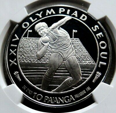 1988 Palladium Tonga 10 Pa'anga Olympic Shot-Put Coin Ngc Proof 69 Ultra Cameo