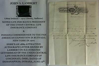 Indiana Commissioner 1901 Pan American Exposition Life Insurance Letter Signed !