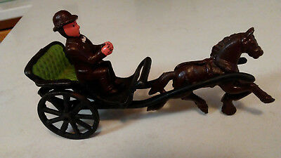 Vintage Cast Iron Horse And Buggy With Driver
