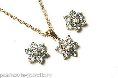 9ct Gold Blue Topaz Cluster Pendant and Earring Set Gift Boxed Made in UK