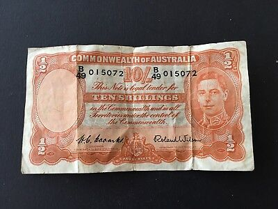 10 shillings  Coombs/Wilson 1952 KGVI, Last Prefix B49 VERY  SCARCE banknote!!!