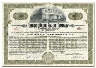 Chicago Union Station Company Bond Certificate