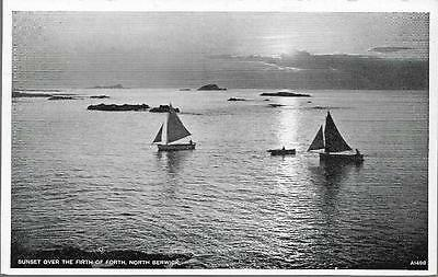 North Berwick, E. Lothian - sunset, yachts - JB White postcard c.1950s