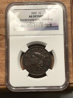 1832 Coronet Head Large Cent NGC AU Details