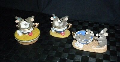 """Lot/3 Fitz & Floyd Charming Tails """"Cup Of Tea"""" Figurines & Candle Topper"""