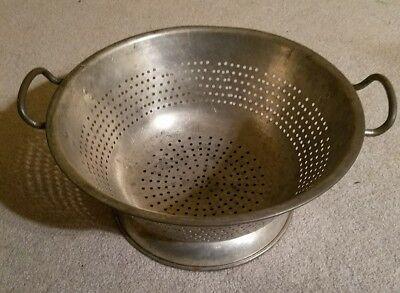 "Vintage Farm Kitchen Colander Large Industrial Heavy Steel Strainer 16"" Diameter"