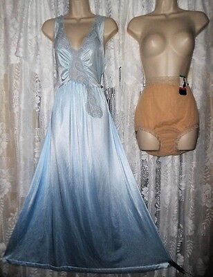 VTG Sky Blue Lovely Olga esque Nightgown Negligee Gown L + OLGA Panties NWT 7 L