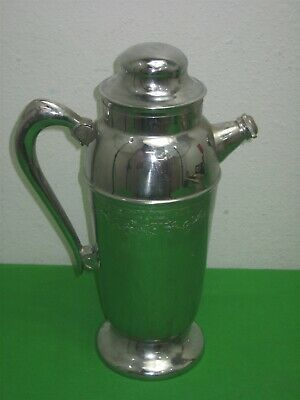 Vintage Stainless Chrome Water Coffee Tea Pot Pitcher Carafe with Handle