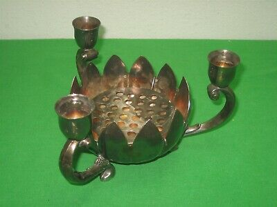 Vintage Antique Leonard Silver Plate Footed Candle Holder Holds 3 Candles