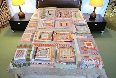 Vintage GEE'S BEND Style Hand Quilted Feed Sack HOUSE TOP Log Cabin Thick QUILT