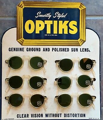 Vintage 1930's 1940's OPTIKS SUNGLASSES orig. Store Display Sign OLD STORE STOCK