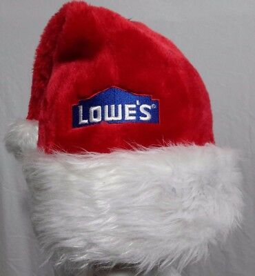 LOWE'S CAPS LOGO STITCHED EMBROIDERED Holiday Santa Red Cap White Faux Fur Trim