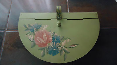 Vintage Hand Painted Metal Tole ware Silent Butler/Crumb Catcher floral