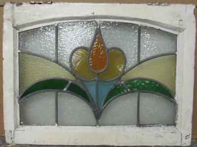 "MID SIZED OLD ENGLISH LEADED STAINED GLASS WINDOW Pretty Floral 23.75"" x 17.25"""