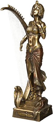Art Deco Cleopatra with Egyptian Harp Statue Sculpture Gift Boxed