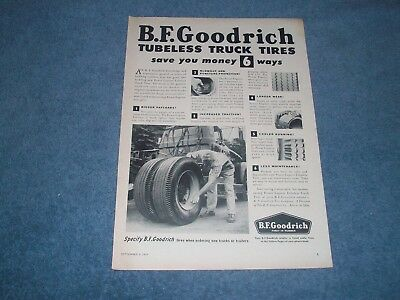 "1956 BFGoodrich Vintage Truck Tires Ad ""Tubeless Truck Tires Save You Money..."""