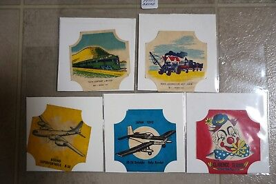 Mixed Lot of 5 Vintage Bread End Labels EJ Sperry Planes Clarence Clown