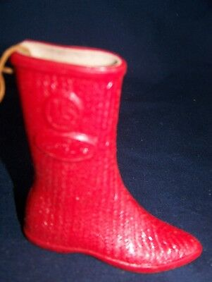 Vintage Christmas Boot Ornament U. S. Rubber 3 Inches Tall Advertising