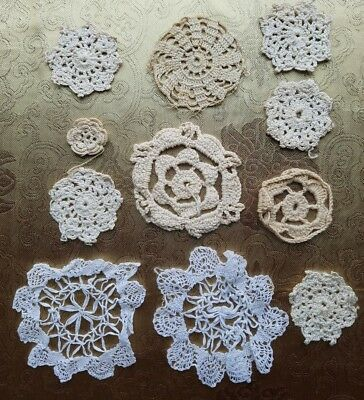 A36 Antique Crochet Trim Small Bits Pieces Pattern Sample Lot of 11 Vintage Doll