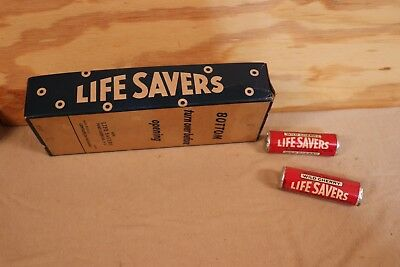 VINTAGE WILD CHERRY UN OPENED 2 LIFE SAVERS ROLLS AND DISPLAY BOX 1960s 1970s