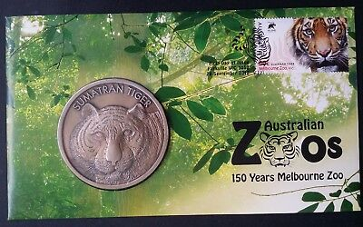 2012 Australian Zoos Sumatran Tiger PNC with $1 UNC coloured coin and 60c stamp
