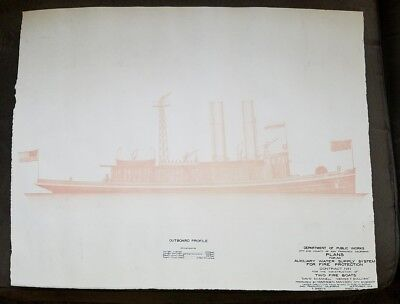Vintage fire Boat boats plans 1908 San Francisco  public works outboard motor