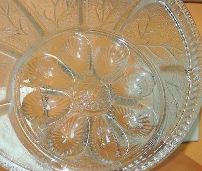 "Indiana Glass Clear Divided Relish & Egg Tray/Plate 12.5"" Depression Antique"