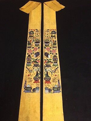 Antique Chinese robe's silk embroidered sleeve bands- Chinese Treasure #40