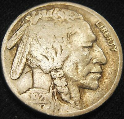 BOLD KEY Date 1921-S BUFFALO NICKEL 5c! Free S&H! LOW Mintage 1.5 million EH48NM
