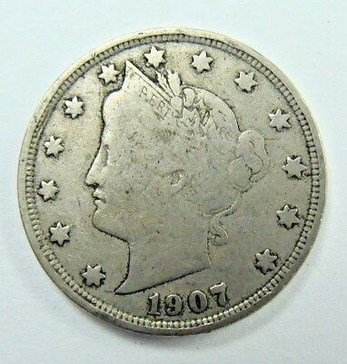 1907 Fine Liberty Nickel, Nice Collector Coin,  Free Shipping