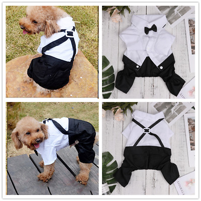 PET DOG PUPPY Tuxedo Bow Tie Shirt Wedding Formal Dress Suit Costume  Clothes New