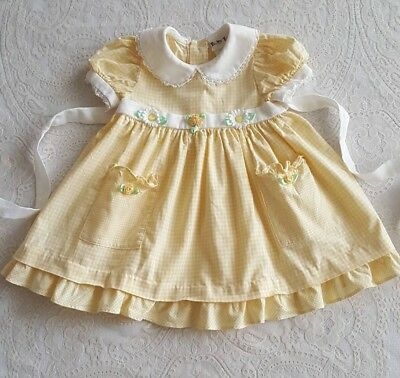 Vintage Baby Girls Toddler Yellow Gingham Dress w Flowers Childrens Clothes