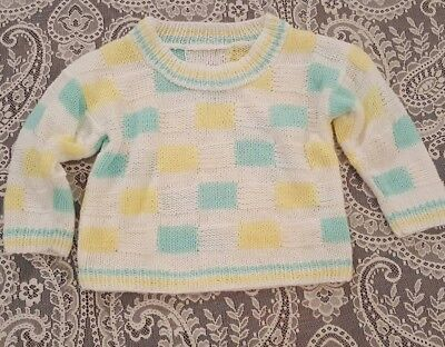 Vintage Retro Baby Toddler Girls Yellow Green Block Sweater Childrens Clothes