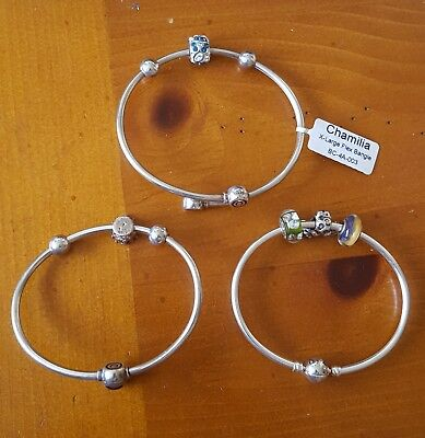 Lot of 3 New Heavy Solid Chamilia Bangle Bracelets w Beads. 2 Med. 1 Large