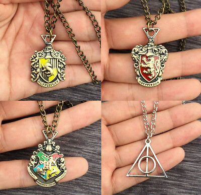 Bronze Harry Potter Slytherin Hogwarts School Necklace Pendant +Chain 6Style